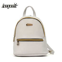 Wholesale Mini Pocket Book - Wholesale- AEQUEEN Leather Backpack Women Student School Bag Backpacks For Teenage Girls Cute Rucksack Female Mini Book Bag Pack