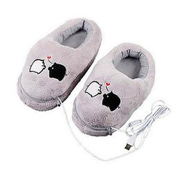 Wholesale Electric Warm Shoes - Wholesale- 1 Pair USB Powered Cushion Shoes Electric Heat Slipper USB Gadget Cute Grey Piggy Plush USB Foot Warmer Shoes