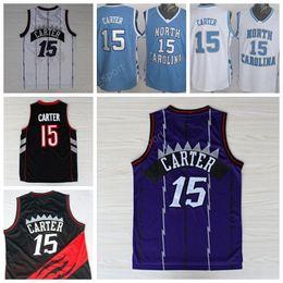 Wholesale North Color - Throwback 15 Vince Carter Basketball Jerseys Men North Carolina College Vince Carter Jersey Stitched Sport Color Team Purple White Black