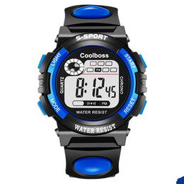Wholesale Best Alarm Watch - 0118Coolboss multifunction children's electronic watches 7 color Luminous alarm clock calendar time unisex sports watches child best gift