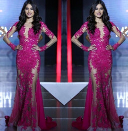 Wholesale Mermaids World - 2017 New Miss World Evening Dresses Long Sleeves Lace Appliques Mermaid Fuchsia Custom See Through Sweep Train Formal Prom Dress Party Gowns
