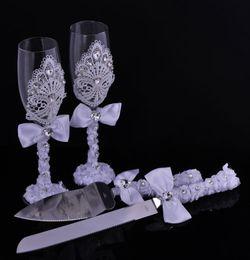 Wholesale Novelty Wedding Gifts - 311-5727 Wedding Favors Wedding Cake Knife Sever & Toasting Wine Glass Set for Wedding Party Even Decoration Novelty Gift Set