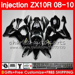 Argentina molde de inyección Cuerpo para KAWASAKI NINJA ZX 10 R ZX10R 08 09 10 47HM0 negro brillante ZX 10R ZX1000 C ZX1000C ZX-10R 2008 2009 2010 kit de carenado cheap black mold body Suministro