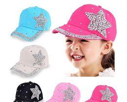 Wholesale Baseball Cap Shape - New Fashion Baseball Cap Rhinestone Star Shaped Boy Girls Snapback Hat Perfect Gifts for Kids