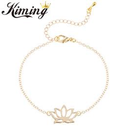 Wholesale Lotus Flower Bracelets - 2017 10 pcs Plants flower lotus flower hollow out pendant bracelet with extended chain bracelet