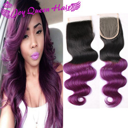 Wholesale 4x4 Lace Frontal - Brazilian Ombre Lace Closure 4x4 inches Free part Silk Base frontal lace closure Peruvian 1b Purple Body Wave Two tone color Lace Closure