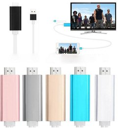 Wholesale Usb Dock Hdmi - Dock to HDMI HDTV TV Adapter USB Cable 1080P for iPhone 5 5S 6 6S 6PLUS  6S PLUS7 7plus HDMI Cable with retail box