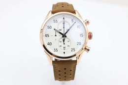 Wholesale Mens Watch Calibre - AAA Rose Gold Calibre 1887 SpaceX Chrono Flyback Stopwatch White Dial Brown Leather Belt Mens Watches Sports Gent Watch VK Chronograph