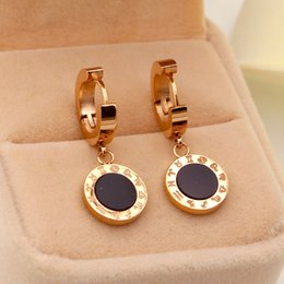 Wholesale Earrings Shells - New Arrival Top Quality 316L Titanium steel Women Earbob Earrings constellation with Black Shell Design Fashion jewelry brand jewelery for w