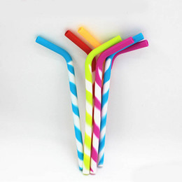 Wholesale Protect Pc Free - Candy Color silicon Reusable Smoothie Straws for Juice Milk Tea Drinking Straw Protect Your Teeth BPA Free 10 pcs lot DEC224