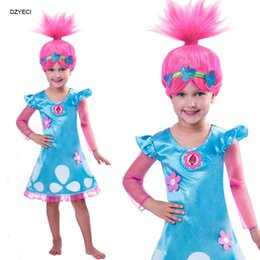 Wholesale Teenage Princess Style Dresses - Trolls Costume For Big Girl Dress Clothes Fashion Teenage Children Long Sleeve Flower Lace Princess Dresses Kid Deguisement Carnival