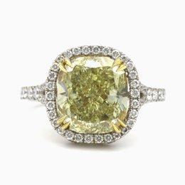 Wholesale Natural Diamond Ring Ct - DIAMOND RING 5.75 CT FANCY INTENSE YELLOW CUSHION SI1 100% NATURAL 18K WHIT GOLD