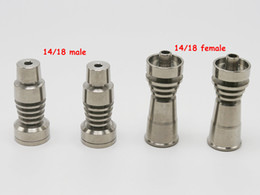 Wholesale Dome Wax - Two function Domeless Titanium Nail Ti Nail 14mm 18mm Male 14mm 18mm female Grade 2 GR2 Titanium Nail fits Wax Dab HoneyComb dome