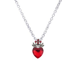 Wholesale Necklace For Teen - Wholesale-Christmas Evie Necklace Descendants Red Heart Crown Necklace Queen of Hearts Costume Fan Jewelry Pre Teen Gift for Her