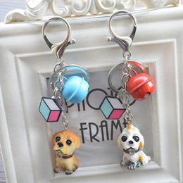 Wholesale Cute Lock Key - Free shipping Super Meng cute little dog dog bell keychain creative car key chain bag pendant KR337 Keychains mix order 20 pieces a lot