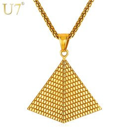 Wholesale Hot Egypt - Wholesale- U7 Egyptian Pyramid Pendant Charm Necklace Gold Color 316L Stainless Steel Chain Women Men Egypt Jewelry Hot New Arrival P1005