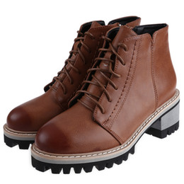 Wholesale Brown Girls Motorcycle Boots - Girl Fashion Bullock Cut Outs Martin Boots Women New Lace Up Zipper Ankle Shoes Ladies Retro Square Heel Round Toe Knight Ankle Boots +B