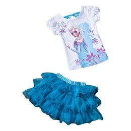 Wholesale New Age Skirts - Wholesale- 2017 New Girls Princess Elsa Dress+T shirt 2 Pcs Set 3-10 Age Layered Tutu Skirt Suit Girls Clothes Sets Children Clothing Suits