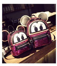 Wholesale Cute Lovely Bags - Girls Backpack Cute Cartoon Mickey Backpack Girls Sequins Bags Lovely Mickey Ear Model Backpack 5 p