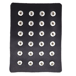 Wholesale Genuine Jewelry Wholesale - 24pcs Black Genuine Leather 12mm 18mm Snap Button Display Ginger Snaps Show Board Fit 18mm Snap Jewelry