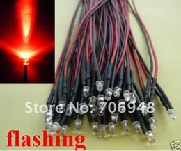 Wholesale pre wired led red - Wholesale- MIX 100pcs 3mm Red Flashing Pre Wired LED Diode 12V Lamp 20cm bulb