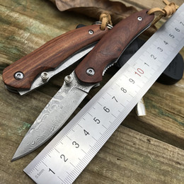 Wholesale Small Camps - new EDC small tool nature Mahogany rosewood Damascus droppoint blade outdoor camping survival mini gear self-defense folding pocket knives