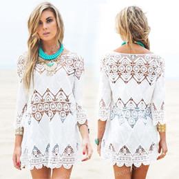 Wholesale Cover Up Swimsuit Shirt Dresses - New Summer Swimsuit Lace Hollow Crochet Beach Bikini Cover Ups 3 4 Sleeve Women Tops Swimwear Beach Dress White Beach Tunic Shirt