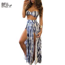 Wholesale Print Strapless Dress - Wholesale- 2017 Summer Fashion Women Long Dress Tie Dye Print Strapless Two Pieces Sexy Club Deep Side Split Maxi Dress Dropship