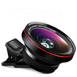Wholesale Macro Lens Cameras - HD Camera Lens 2 in1 Professional 0.6X Super Wide Angle Lens 15X Macro Lens Universal Clip-On Cell Phone Len for iPhone Samsung