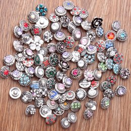12mm snap button charm Coupons - high quality Mixed Sale 50PCS lot 12mm Metal Snap Button For Bracelets Bangles Men Colorful Rhinestone Charm Bracelets For Women