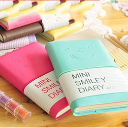 Wholesale Mini Spiral Notebooks Wholesale - Imitation Leather Notepad Candy Colors Notebook Smiling Face Expression Notebooks Mini Diary For Students Holster Notepads Lovely 1 65xc R