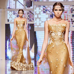 Wholesale Ellie Saab Evening Gowns - Gold Sequined Ellie Saab 2017 New Evening Dresses Lace Applique Jewel Neckline Mermaid Prom Gowns Long Formal Party Dress