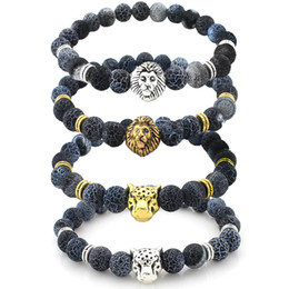 Wholesale Leopard Agate - 8mm Lion Leopard Head Weathering Agate Stone Bracelet Mala Meditation Charm Jewelry Bracelet Men and Women Bracelet Christmas Gift B357S
