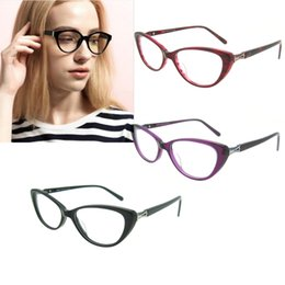 Wholesale Chic Frames - Fashion Acetate Black Eyewear Frames Chic Cat Eye Optical Glasses Women High Quality Clear Spectacle Frame Eyeglasses2017 New Women's Fashio