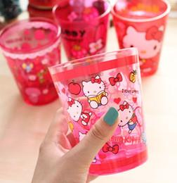 Wholesale Wholesale Acrylic Mugs - Wholesale- 1X Random Design Hello Kitty Size 11*8CM Quality Acrylic Face Cup Mugs ; Drink Cup MUG ; Water Cup Mug
