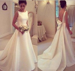 Wholesale French Gowns - 2017 Simple Jewel A Line Elegant Wedding Dresses Sexy Backless with Bow Sash Satin Long Bridal Gowns French Romantic Simple Bride Dresses