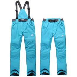 Wholesale Thermal Outdoor Pants Women - Wholesale- Free Shipping women ski pant solid waterproof windproof and thermal candy color trousers winter outdoor sport bib pant