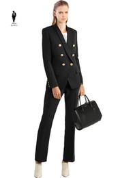 Wholesale Ladies Formal Pants - UR Black Trend Hot Plus Size Formal Female Office Uniform Womens Pants Suits For Wedding Blazer Set Ladies Pants Suits Women Pnats Suit Set