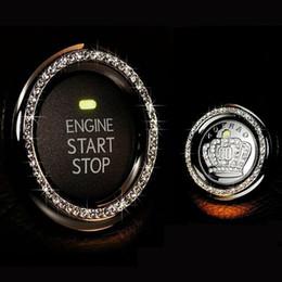 Wholesale Push Start Ignition Cars - New Crystal Rhinestone Car Engine Start Stop Ignition Key Ring Car Decor One-Key Engine Ignition Push Button Decorative