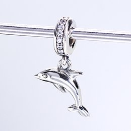 Wholesale Hanging Charms Bracelets - Real 925 Sterling Silver Not Plated Dolphin Silver Hanging Charm CZ European Charms Beads Fit Pandora Snake Chain Bracelet DIY Jewelry