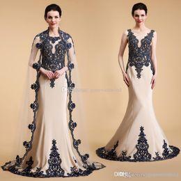 Wholesale Classic Elegant Dress Jacket - real photos Arab Dubai elegant wrap mermaid evening dresses 2018 lace embroidery crystals beaded sweep train evening gowns