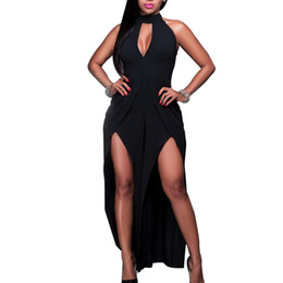 Wholesale Jumpsuit Slits - Wholesale- 2016 Halter Jumpsuit And Rompers For Women Side Slit Cut Out Long Pants Wide Leg Pants One Piece Sexy Backless Macacao Feminino