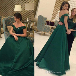 Wholesale Sweetheart Full Length Beaded Sequin - Vestidos Dark Green Off Shoulder Lace Evening Dresses A Line Satin Sequin Backless Full Length Plus Size Red Capet Prom Gowns