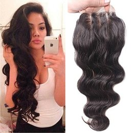 Wholesale Wave Lace Front Closures - Large In Stock Free Middle Three Part 4x4 Front Lace Closure Bleached Knots Body Wave Wavy Natural Color Lace Closure With Baby Hair