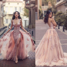 Wholesale Lace Top Long Tulle Prom Dress - Saudi Arabic Over skirt Mermaid Evening Dresses 2017 Top Quality Sheer Backless V Neck Appliques with Capes Long Prom Party Split Gowns