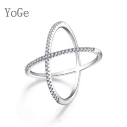Wholesale Ring X Shape - YoGe R0933 Luxury AAA cubic zirconia micro pave setting big X shaped ring ,stunning jewelry women's  accessories