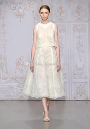 Wholesale Monique Lhuillier Beach - two piece lace A-line wedding dresses 2017 Monique Lhuillier bridal jewel neckline sleevless zipper back wedding gowns