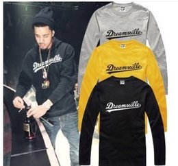 Wholesale Chinese Fashion T Shirt - Free shipping Chinese Size S--XXXL Retail tee long sleeve t shirt DREAMVILLE J COLE LOGO printed t shirt hiphop tops 100% Cotton 6 color