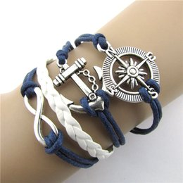 Wholesale Sideway Infinity - Gofuly Retro DIY Infinity Leather handcuffs Love Anchor Compass Sideway Braided Wristband Bracelet