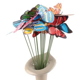 Wholesale Decorative Rods - New 7cm cutting-style simulation butterfly flower arrangement decorative butterfly with Wedding inserted rod flower Simulation butterfly